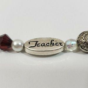 Women Silver Beaded Teacher Bracelet